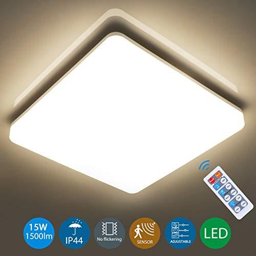 LED Deckenleuchte mit Bewegungsmelder, Oeegoo Sensor Deckenlampe 15W 1500lm 4000K, Sensorleuchte einstellbar mit Fernbedienung, IP44 Wasserfest Sensor Lampe für Badezimmer, Garage, Lager, Flur