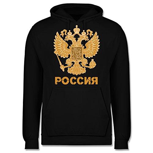 Shirtracer Länder - Russland Wappen hell - M - Schwarz - JH001 - Herren Hoodie und Kapuzenpullover für Männer