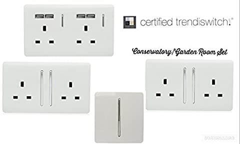 Trendi Switch Artistic Modern Glossy Switches & Sockets Conservatory/Garden Room Trade/Multi Buy Pack in White