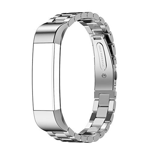 Fitbit Alta Uhrenarmband, AISPORTS Fitbit Alta HR Edelstahl-Band, Smart Watch, verstellbare Ersatz-Bänder mit Metall-Armband Schnalle Schließe für Fitbit Alta/Fitbit Alta HR Fitness-Zubehör