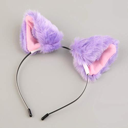 Schwarz Pink Und Kostüm Katze - GAO Für Halloween Party Katze Kunstpelz Ohren Kostüm Haarnadel Haarband Schwarz/Weiß/Lila/Leopard/Black & Pink Apparel