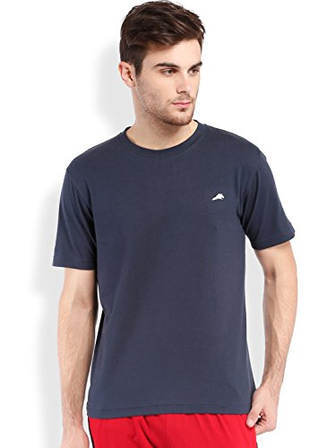 2go Cotton Round Neck Yoga Performance Tshirt 100% Pure Cotton Navy M  available at amazon for Rs.249