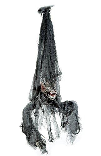 (Preis am Stiel® Halloween Hängender Werwolf, animiert, mit Sound beweglichem Kopf und blutrot funkelnden LED-Augen)
