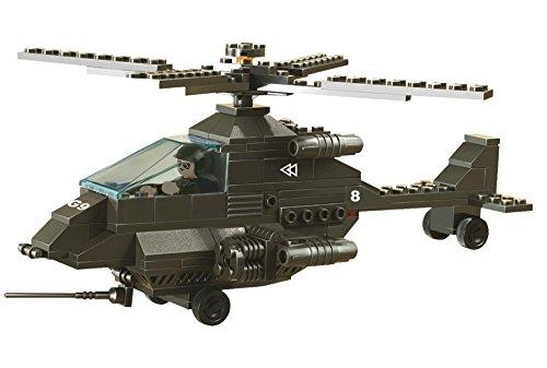 Lego-sets Weltkrieg (Funstones - Baustein Set G9 Army Hubschrauber Armee + Pilot Bausatz Kampfhubschrauber)