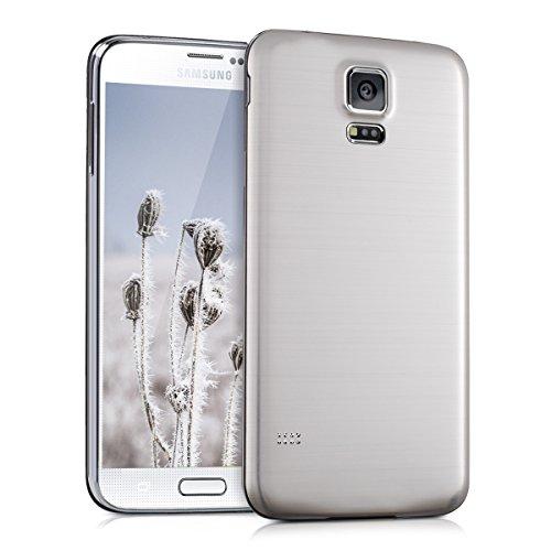 kwmobile Tapa de bateria de aluminio cepillado para el Samsung Galaxy S5 / S5 Neo / S5 LTE+ / S5 Duos plata