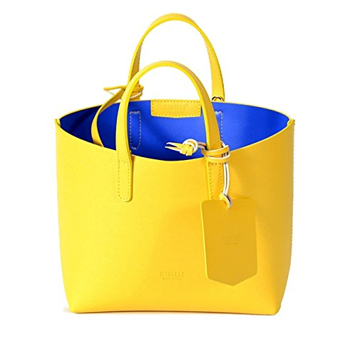 REBELLE FTC Flora - Borsa in pelle made in Italy giallo / blu