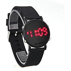 FACILLA® Digital Red LED Black Silicone Band Round Dial Wrist Watch Wristwatch Men Lady