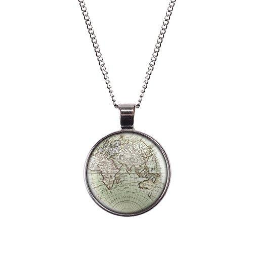 Mylery Hals-Kette mit Motiv Welt Erde Land-Karte Europa Afrika Asien Ozeanien silber 28mm (Motiv Land)