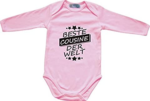 ShirtInStyle Long-sleeve Baby bodysuit Best COUSINE the World - pink, 74/80