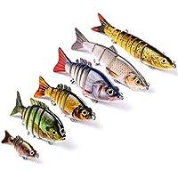 WEATLY Señuelos de Pesca Worms Jigs Tackle Box Agua Salada Freshwater Bass Bass Trucha Salmón con 5 Piezas (Size : 6 Piece)