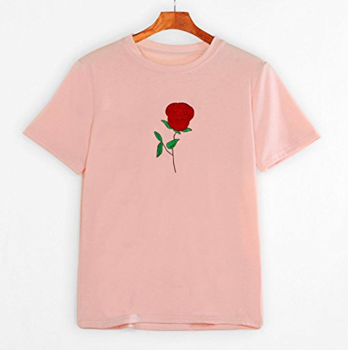 HARRYSTORE Frauen 2017 Sommer Rose Stickerei Bluse Pure Farbe Kurzarm T-Shirt Rosa
