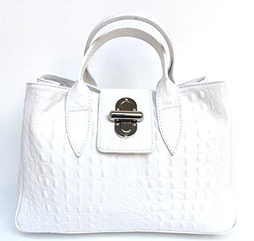 SUPERFLYBAGS Damentasche Echtes Leder Aufdruck Krokodil Modell Milena Croco L Made In Italy Bianco