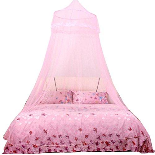 Rund Prinzessin Moskitonetze, Zarupeng Spitzenverschlüsselung hängenden Kuppel Moskitonetz, Indoor Outdoor Spielzelt Bett Baldachin Himmelbett-Betthimmel (One Size, Rosa) -