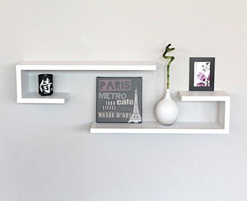 Set 7 mensole bianche cubi design moderne mensola camera legno bianco con venature esse 3c ci - Mensole cucina moderna ...