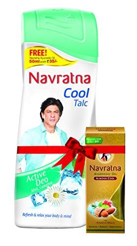 Navratna Cool Talc Active Deo, 400g Free Himani Navratna Oil 50 ml