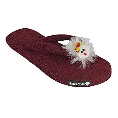 BlackCoal Women Room Slippers Girls Slip-on Bedroom Home Towel Mahroon Flip Flops WFC33 (3 UK/India)