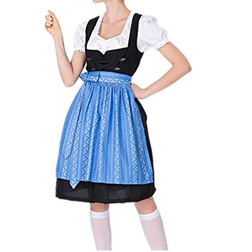 Zylione Damen Party Kleid Dirndl Dreiteiliger Set mit Kopftuch Schürze Weste Blouse für 2019 Oktoberfest Feiertags Karneval Kariertes Trachtenkleid Biermädchen Spitze Kostüm Maid Kleider Tracht - Karneval Flüchtlings Kostüm