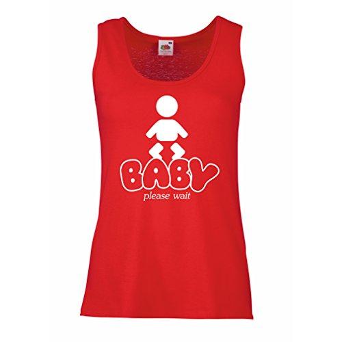lepni.me Damen Tank-Top Baby Loading - lustige Mutterschaft Shirts mit Sprüche (X-Large Rot Weiß) (Mutterschaft Top T-shirt Trendige)