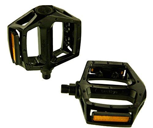 Wellgo LU-313Fahrrad-Pedal, für Mountainbike, BMX, mit Reflektor, Kugellager, aus Aluminium, Schwarz