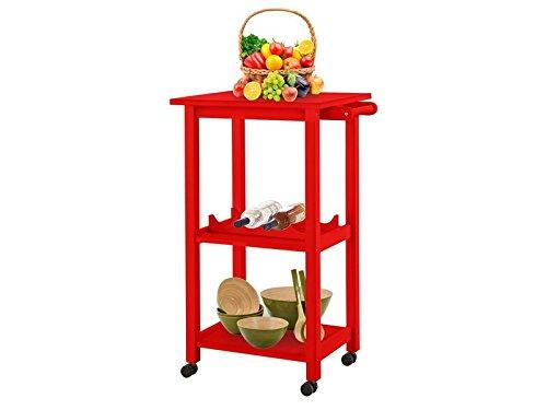 Loft24 Aldo Küchenwagen mit Rollen Rot Rollwagen Servierwagen mit Weinregal Küchentrolley Küche...