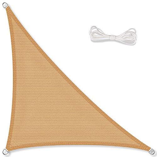 Toile d'ombrage pergola CelinaSun 011666 pour le jardin - Protection solaire et contre les rayons UV - Résistante aux intempéries - PEHD respirant - En forme de triangle rectangle - 4 x 4 x 5,65 m - Sable / beige