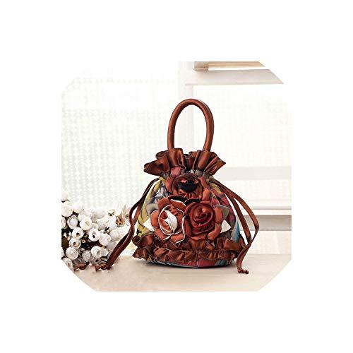 Strawberryran Embroidery Bag Bunte Blumen Seide Handtasche Frauen-Minigeldbörse Paket-Telefon-Beutel, Bronze - Bowler Kleine Handtasche