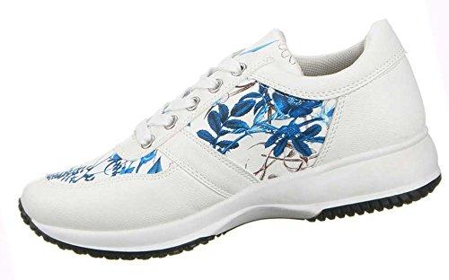 Damen Schuhe Freizeitschuhe Blumen Print Sneakers Blau