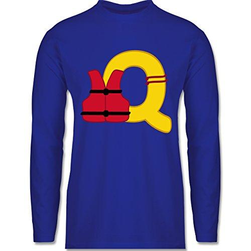 Anfangsbuchstaben - Q Schifffahrt - Longsleeve / langärmeliges T-Shirt für Herren Royalblau