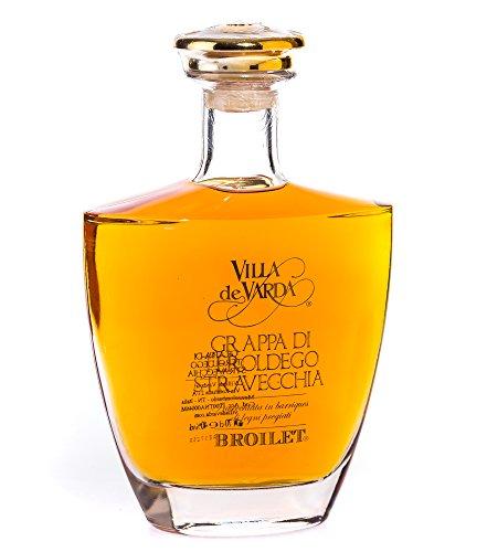 Villa de Varda Grappa Teroldego Stravecchia-Broilet Alta Selezione / 40% Vol. / 0,7 Liter-Flasche in Kästchen aus Mahagoniholz