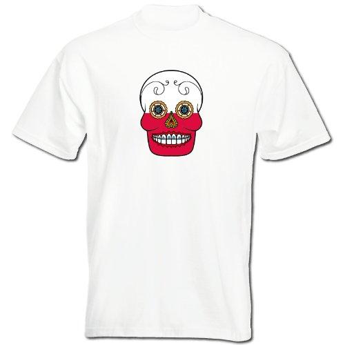 T-Shirt - Polen - Sugar Skull - Fahne - Herren - unisex Weiß