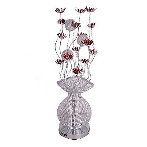 Lampadaire Moderne et élégant. Vase Fabrique en Aluminium Argenté Décoré avec Fleurs Rouges