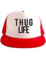 Thug Life Cool Swag Hip Hop impresión 80s Style Snapback Sombrero Gorra Tapa Rojo