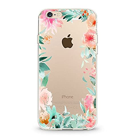 Coque transparente iphone 6 6s fleur 15 fleur rose vert
