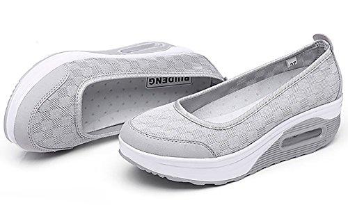 Odema Sommer Masche dick Sohle Slip On Damen Luft Brandsohle Schuhe Grau