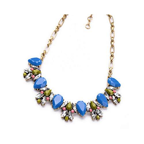 Modeschmuck, Anhänger Halskette, New Hot Pendant Necklace Women Jewelry Trends Link Chain Statement Necklaces Colar Water Drop Pendants Blue