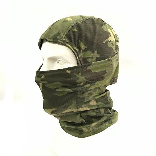 WorldShopping4U Camuflaje Ninja pasamontañasTactical Airsoft Caza al aire libre Máscara protectora de rostro completo (Woodland Camo)