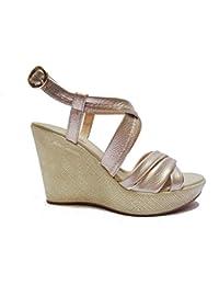 NERO GIARDINI sandali donna con zeppa pelle platino n. 36 P805853D 5853 .