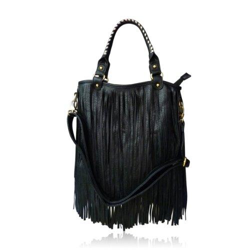 Tote Fold Over Tasche für Damen LYDC London mit optionaler verstellbarer Long Stap und Reißverschluss Tasche (Schwarz und Weiß) -
