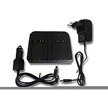 Cargador rápido dual 2 ranuras incl. coche para batería NB-10L como Samsung NX500.
