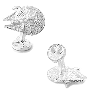 Manschettenknöpfe Star Wars Millennium Falcon Millenniumfalke 3D Silberfarbe Rebellenallianz Logo Silber auf der Rückseite in Geschenkbox