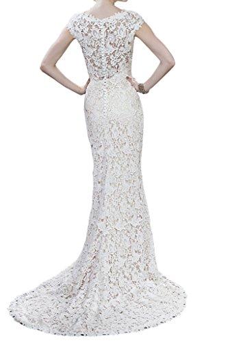 Milano Bride Elegant Damen Rundkragen Spitze Hochzeitskleider Brautkleider Brautmode Etui-linie mit kleine Schleppe Lang40-Elfenbein - 2