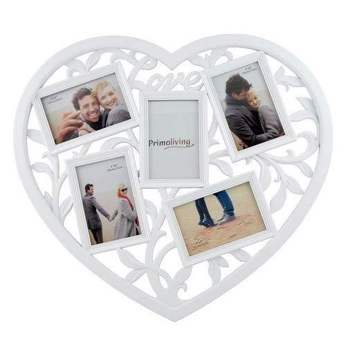 PrimoLiving Bildergalerie Herzform Love für 5 Fotos weiß P-238
