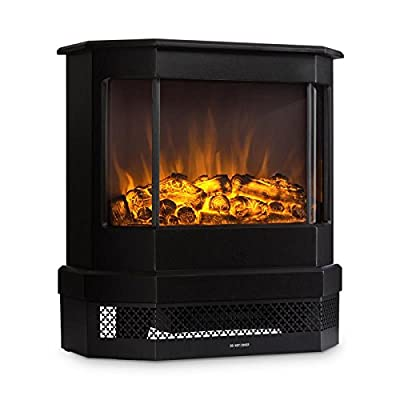 KLARSTEIN Castillo Electric Fireplace - Halogen Flame Simulation, Heating: 1000 and 2000 W, Large Glass, Laminated Metal Casing, Victorian-Style, Style of Cast Iron, Black