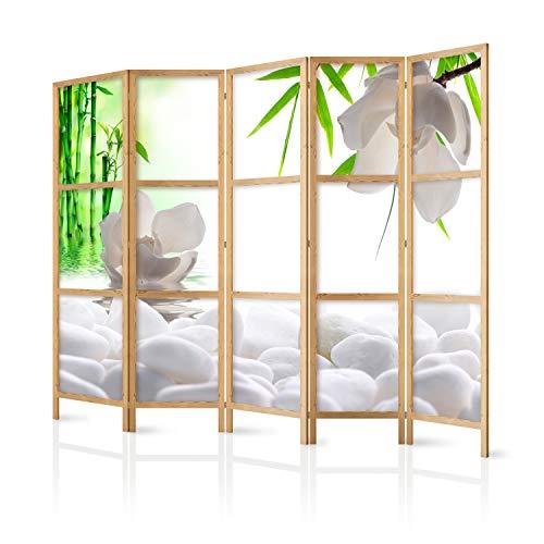 murando - Paravent XXL Blumen Bambus Spa 225x171 cm - 5-teilig - einseitig - eleganter Sichtschutz - Raumteiler - Trennwand - Raumtrenner - Holz - Design Motiv - Deko - Japan p-B-0036-z-c