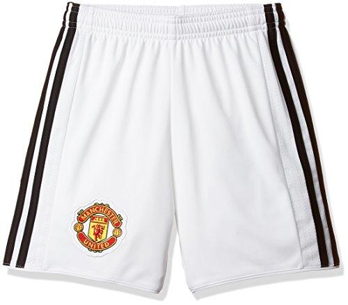Adidas MUFC H SHO Y Pantalón Corto 1ª Equipación Manchester United FC, Niños, (Blanco/Negro), 164 (13/14 años)