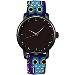 iCreat New Classic Casual Leather Strap Women Girl Quartz Wrist Watch Black Dial Black Case Watchband Design With Lovely Blue And Purple Owl