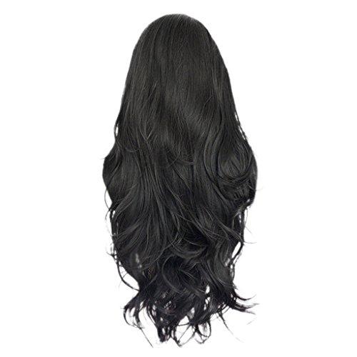 MagiDeal Damen Frauen lange Perücken Natürlich Wellige Lockige Lange Perücke Schwarz aus 100% Echt Menschenhaare, Front Lace Wig, Hitzebeständig volle Perücken -