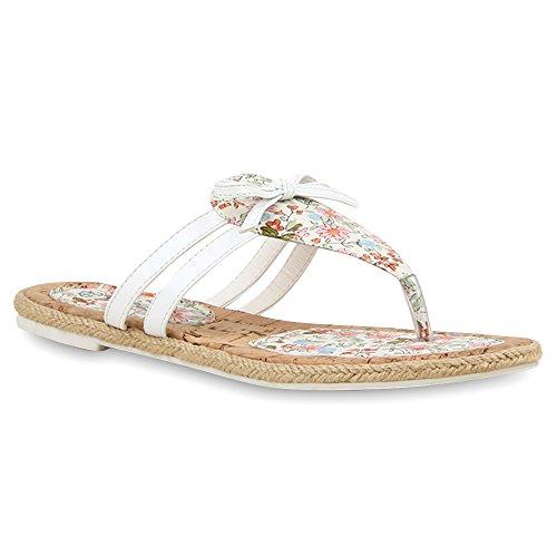 Damen Sandalen Zehentrenner Zierperlen Schleifen Ethno FlatsBeach Sommer Lack Übergrößen Schuhe 103726 Weiss Schleife 37 Flandell