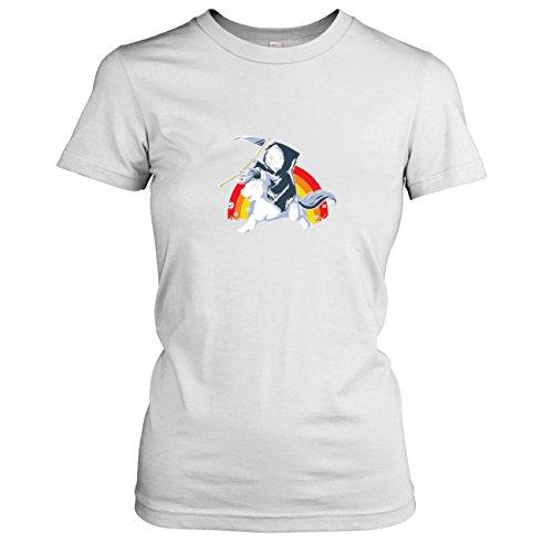 (TEXLAB - Todes Pony - Damen T-Shirt, Größe XL, weiß)