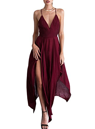Futurino Women's Plunge Crisscross Back Irregular Hem Strappy Maxi Dress Wine Red